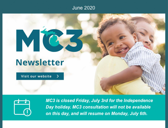 Screen shot of the top of the Summer 2020 newsletter