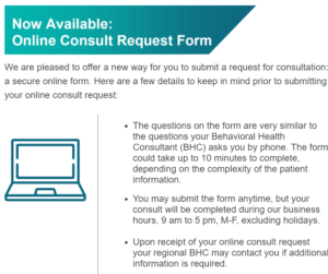 Screenshot of the Online Consult Request Form announcement
