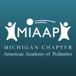 Image of a dark green background with the white logo for the Michigan Chapter of the American Academy of Pediatrics on it