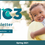 """Screen shot of the newsletter header, which is an image of a young happy child being held by its mother with the MC3 logo on top of it and the word """"Newsletter"""""""