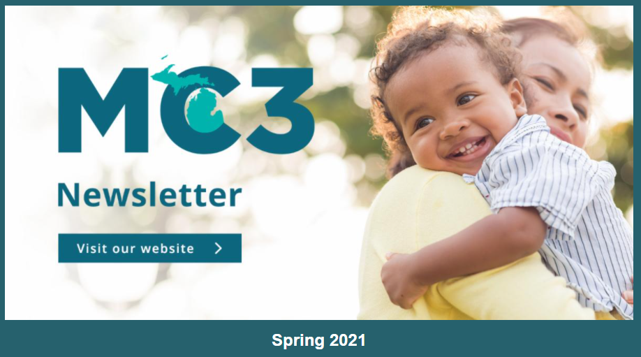 "Screen shot of the newsletter header, which is an image of a young happy child being held by its mother with the MC3 logo on top of it and the word ""Newsletter"""