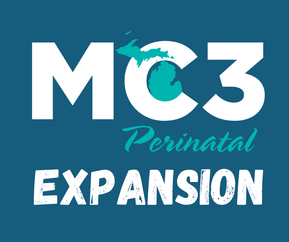 """Decorative graphic with the MC3 Perinatal logo and the word """"expansion"""" underneath it"""
